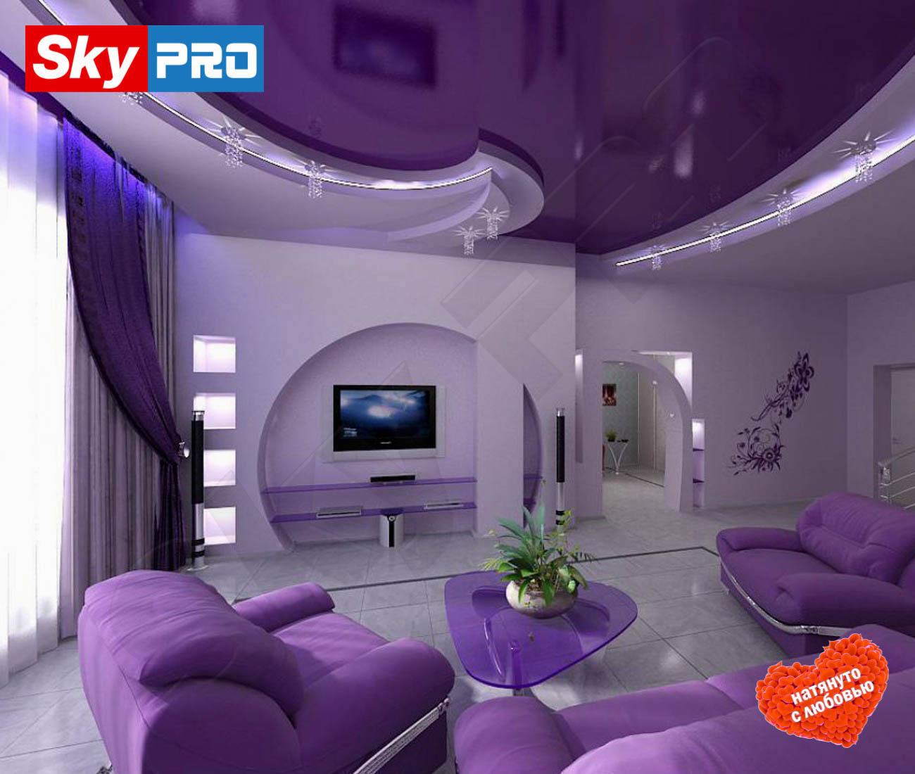 Цветной глянцевый натяжной потолок Премиум цена за метр
